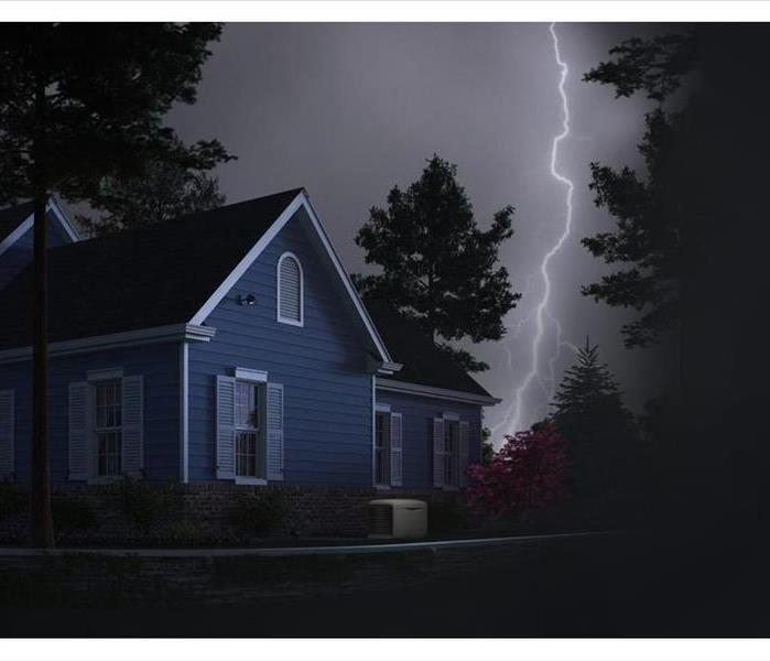 Lightning strikes causing a power outage at a home